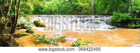 Panorama Waterfall On Mountain In Tropical Forest At National Park