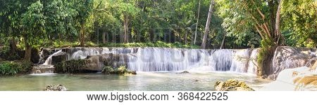 Panorama Waterfall On The Mountain In Tropical Forest