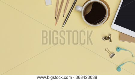 Top View Workspace Office Supplies Mockup With Tablet, Hot Coffee Cup, Books And Accessories Isolate