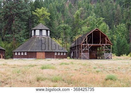 Fintry, British Columbia, Canada - September 9, 2019: The Preserved Historic Octagonal Dairy Barn At