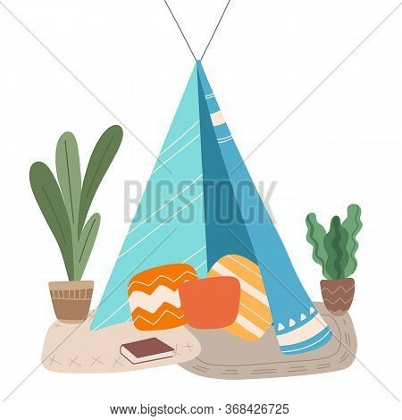 Flat Illustration Of Blanket House With Pillows, Book And Home Plants. Stay Home. Game For Adults An