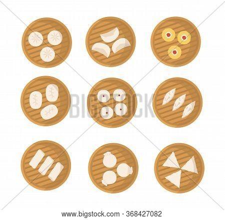 Set Of Japanese Or Chinese Dumplings In Bamboo Steamer. Dimsum, Baozi, Bao. Vector Flat Cartoon Illu