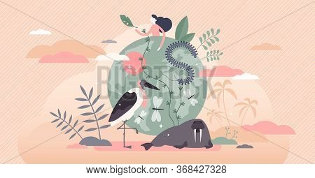 Biodiversity Vector Illustration. Various Wildlife Flat Tiny Person Concept. Mammals, Birds, Fishes