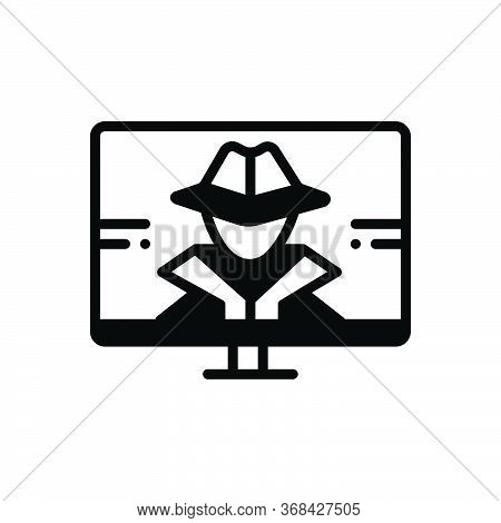 Black Solid Icon For Hacker Phishing Technology Ransomware
