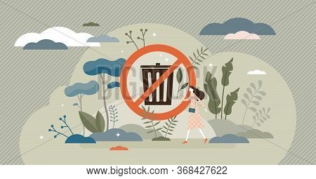 No Rubbish Vector Illustration. Trash Bin Sign Flat Tiny Persons Concept. Saving Clean Environment W