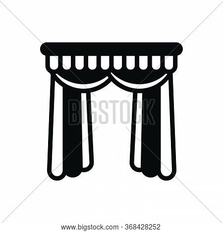 Black Solid Icon For Curtains Veiling  Window-curtains Theater-curtains