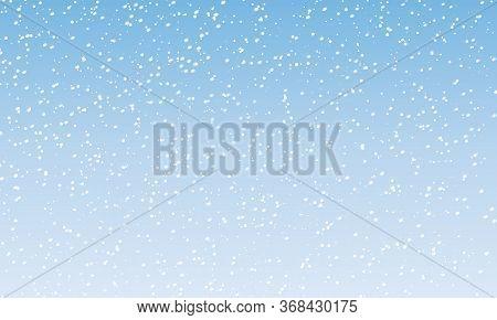 Snowflake Background. Falling Snow. Vector Illustration. Snowfall Sky. Christmas Winter Background.