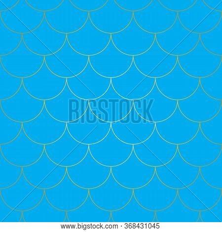 Seamless Pattern. Mermaid Scales. Fish Squama. Kawaii Pattern. Blue Background. Mermaid Pattern. Col