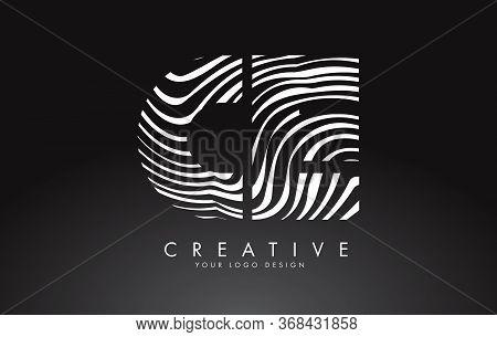 Ce C E Letters Logo Design With Fingerprint, Black And White Wood Or Zebra Texture On A Black Backgr