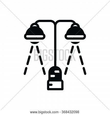 Black Solid Icon For Lighting Bright Decoration Filament Light Spotlight Street