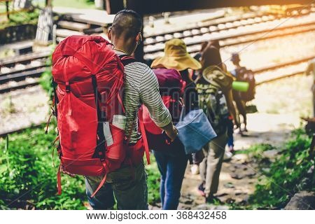 Travelers And Friends With Backpacks Hiking Journey Travel Lifestyle Trek Concept
