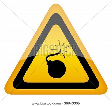 Bomb warning sign vector illustration isolated on white background poster