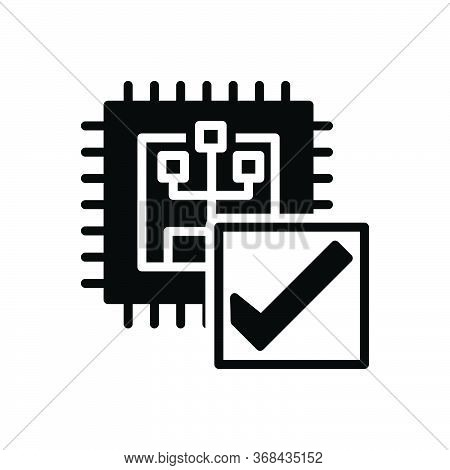 Black Solid Icon For Verify Calibrate Inquire Inquire-into Investigate