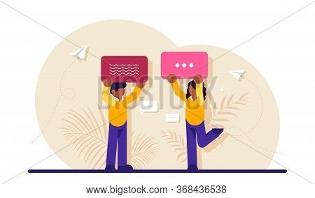 Concept Of Internet Communication, Instant Messaging, Chatting, Online Conversation On Social Networ