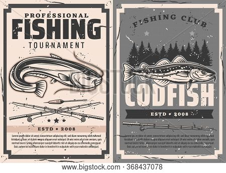 Fishing Rods, Catfish And Cod Fish Vector Design Of Fisherman Sport Club Tournament. Fish With Fishe