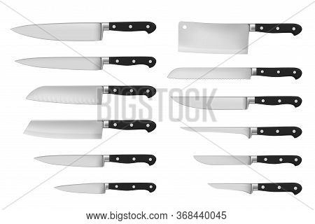 Kitchen And Meat Cutting Knives Set Realistic Vector Of Chef And Butcher Tools. Stainless Cleaver, C