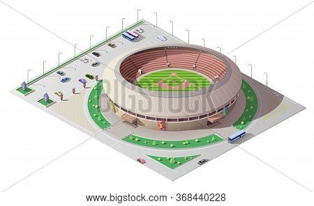 Stadium Isometric Building Of Baseball Sport. 3d Vector Sporting Arena With Green Play Field, Tribun