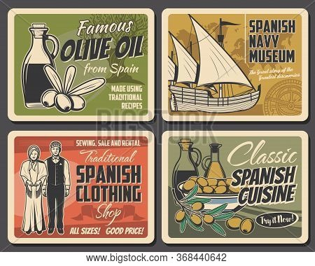 Spanish Cuisine Food And Culture Traditions, Vector Travel And Tourism. Spanish Olives And Oil Bottl