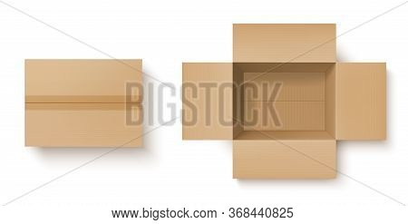 Brown Cardboard Box Realistic Mockup Of Delivery Packages Vector Design. Open And Closed Carton Parc