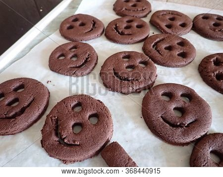 Smiley Chocolate Cookies Freshly Baked With Love