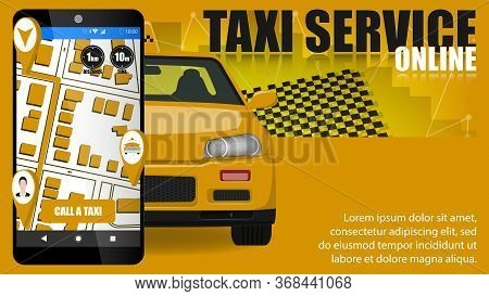 Online Taxi Service Poster Concept.taxi Illustration.taxi Banner