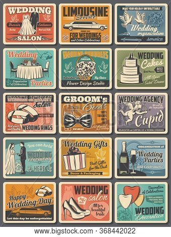 Wedding And Marriage Vector Object Set With Bride And Groom Items. Wedding Cake, Engagement Ring And