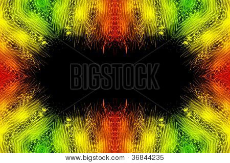 Abstract powerful frame background object in green and orange poster
