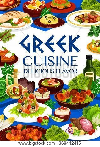 Greek Cuisine Meal, Vector Food Of Seafood Risotto, Fish Soup, Meat Stew Stifado And Vegetable Salad