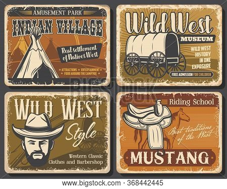Wild West Retro Posters Of Western Cowboy With Hat, Rodeo Horse And Texas Sheriff Gun. Native Americ