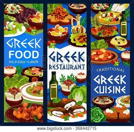 Greek Cuisine Restaurant Food Banners. Vector Vegetable Salad, Fish Soup And Meat Stew Stifado, Yogu