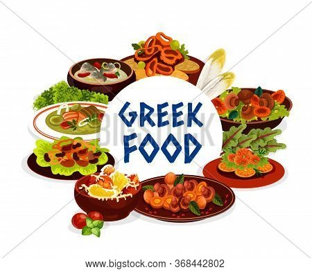Greek Cuisine Seafood, Vegetables And Meat Food. Vector Beef Stifado, Cod And Trout Cream Soups, Mus