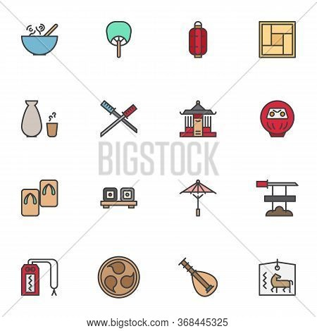 Japanese Culture Filled Outline Icons Set, Line Vector Symbol Collection, Linear Colorful Pictogram