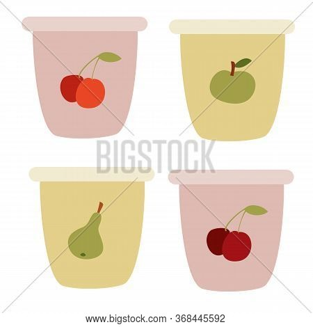 Set Of Yogurt Cups, Flat, Isolated Object On A White Background, Vector Illustration,