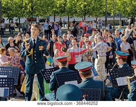 Moscov, Russia - June 2, 2018: Conductor And Musicians Of The Military Orchestra, As Well As The Aud