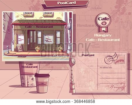 Vector Background Retro Style Cafe Of Hungary. Post Card And Flyer. For Web, Video, Interface, Desig