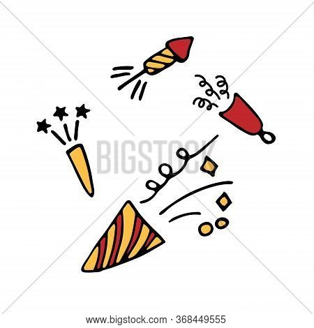 Confetti Popper Cracker Firework Icon. Hand Drawn Vector Flat Illustration.