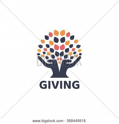Giving Logo Natural And Vintage, Silhouette, Social,