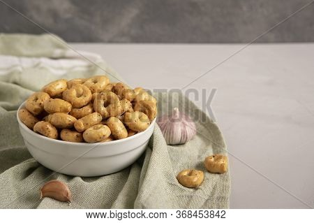 Tarallini And Taralli Biscuits Assortment, Garlic. Italian Food