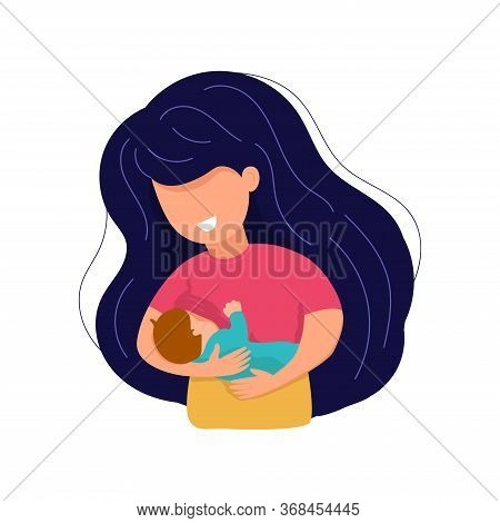 Vector Cartoon Illustration Of Beautiful Mother Breastfeeds Her Baby Child Holding Him In Hands. Bre