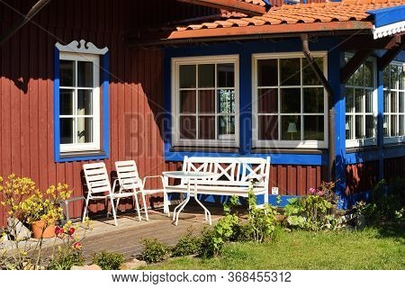 Traditional Fishermans House In Preila, Lithuania. Preila Is A Resort Town In Lithuania. Located On