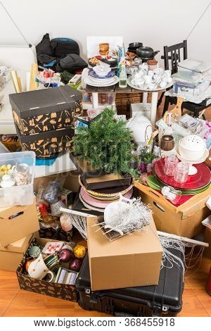 Messy room full of clutter and junk - Compulsive hoarding. Hoarding disorder.