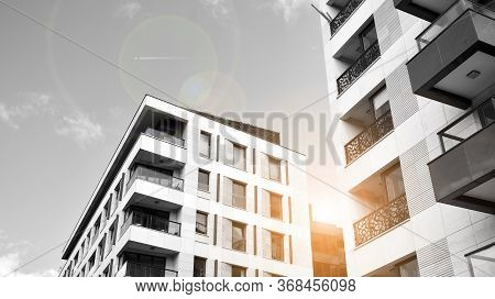 Detail Of Modern Residential Flat Apartment Building Exterior. Fragment Of New Luxury House And Home