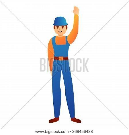 Happy Repairman Icon. Cartoon Of Happy Repairman Vector Icon For Web Design Isolated On White Backgr
