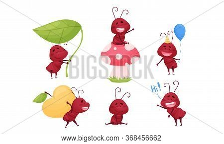 Cute Ant Character Sitting On Mushroom Cap And Carrying Huge Apple Vector Set