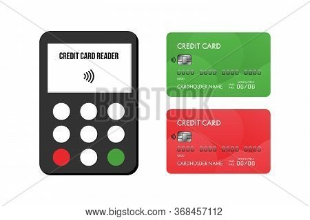 Credit Card Reader, Payment Terminal And Two Credit Cards Icons, Illustration For Bank And Financial