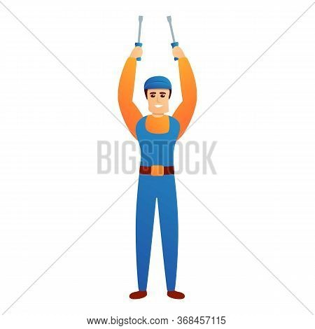 Repairman With Screwdriver Icon. Cartoon Of Repairman With Screwdriver Vector Icon For Web Design Is