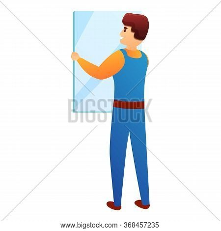 Repairman Change Window Icon. Cartoon Of Repairman Change Window Vector Icon For Web Design Isolated