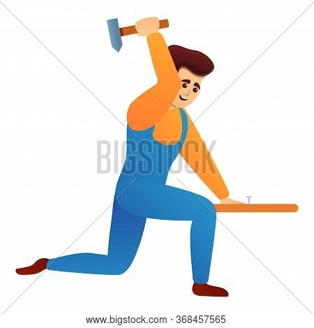 Repairman With Hammer Icon. Cartoon Of Repairman With Hammer Vector Icon For Web Design Isolated On