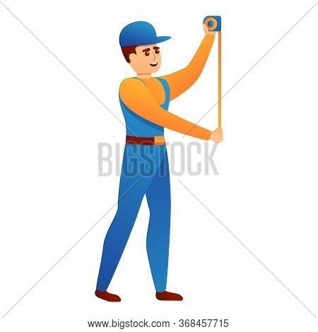 Repairman Measurement Tape Icon. Cartoon Of Repairman Measurement Tape Vector Icon For Web Design Is
