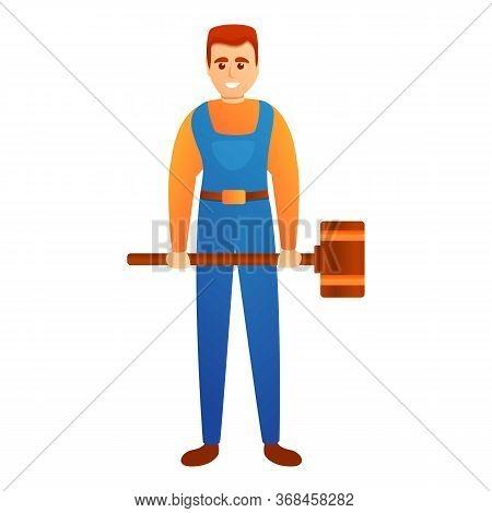 Man With Sledge Hammer Icon. Cartoon Of Man With Sledge Hammer Vector Icon For Web Design Isolated O